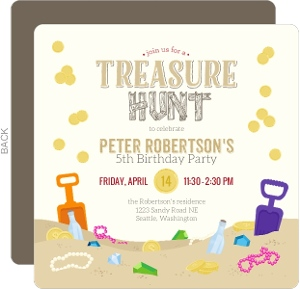 Fun Treasure Hunt Birthday Party Invitation
