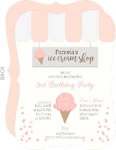 Sweet Pink Ice Cream Shop Birthday Invitation