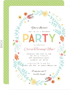 Colorful Blossoms Girl Birthday Party Invitation