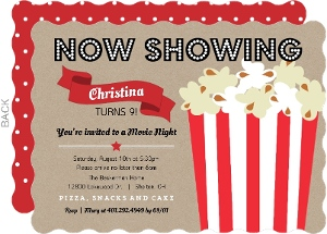 Movie Night Kids Party Invitations Kids Birthday Invitations
