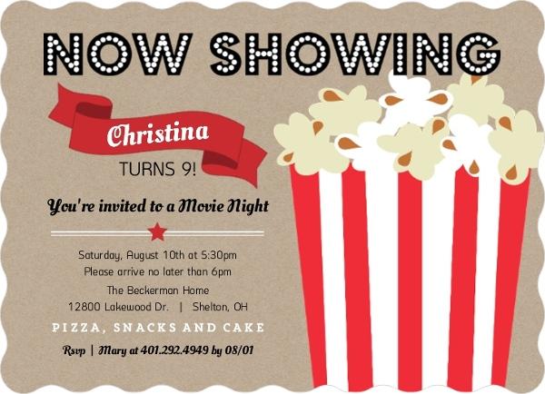 Movie Night Kids Party Invitations Kids Birthday Invitations