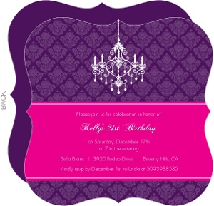 Elegant Damask and Chandelier 21st Birthday Invitation