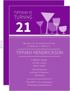 Cocktail Glasses 21st Birthday Invitations