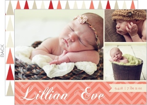 Modern Coral and Red Chevron Birth Announcement