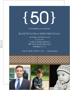 Blue Three Photo 50th Birthday Invitation