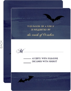 Twilight Sky Halloween Wedding Response Card