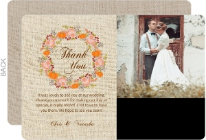 Burlap Pattern Fall Wedding Thank You Card