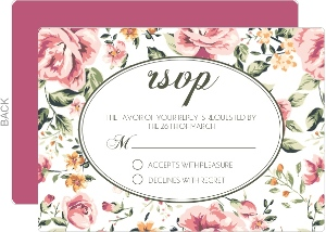 Pink Floral Wedding Response Card