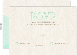 Whimsical Mint Woodgrain Wedding Response Card