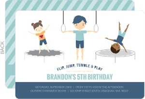 Blue Gymnastics Boys Birthday Party Invitation