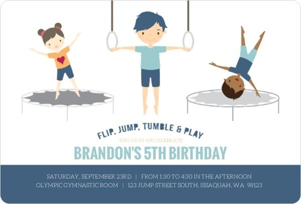 blue gymnastics boys birthday party invitation kids birthday