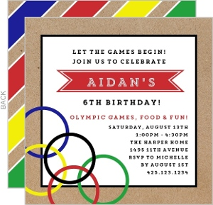 Kraft Modern Olympic Birthday Party Invitation