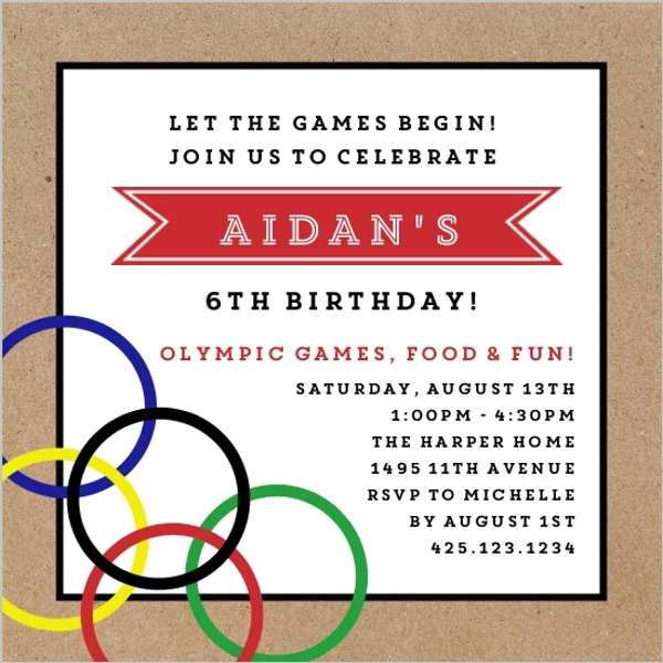 Kraft Modern Olympic Birthday Party Invitation Party Invitations
