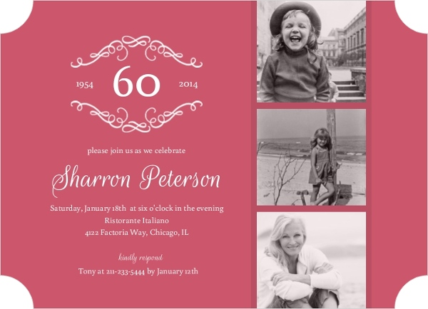 Dusty Rose 60th Birthday Surprise Party Invitation Adult Birthday