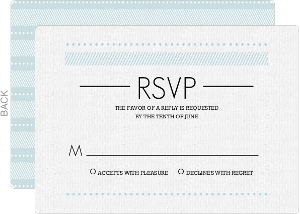 Modern Pale Blue Pattern Wedding Response Card