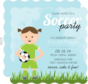Blue Whimsical Girls Soccer Party Invitation