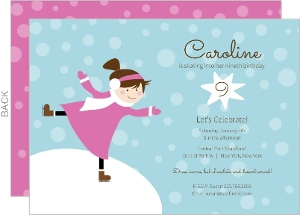 Blue and Pink Ice Skating Kids Party Invitation