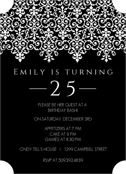 Elegant Black And White 25th Birthday Invitation