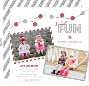Red Faux Glitter Party Lights Holdiay First Birthday Invitation