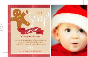 Festive Oh Snap Gingerbread Man First Birthday Invitation