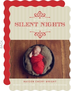 Red Silent Nights Frame Holiday Birth Announcement