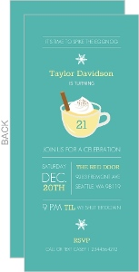 Teal Eggnog 21st Birthday Holiday Invitation