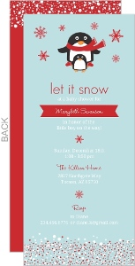 Red Winter Penguins Boy Baby Shower Invitation