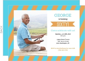 Blue and Orange Stripe 60th Birthday Photo Card