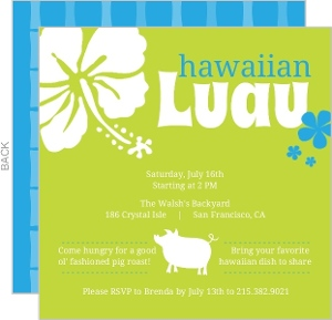 Bright Green Hawaiian Pig Roast Luau Invitation