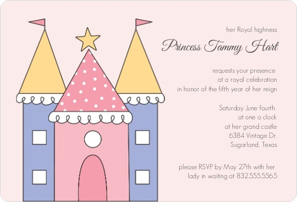 Pink Princess Castle Girls Birthday Party Invitation