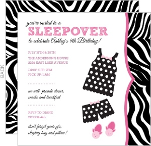 Polka Dot Pajamas Slumber Party Invitation