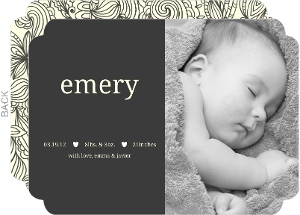 Simple Gray Photo Birth Announcement