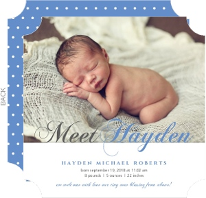 Blue and Gray Script Photo Birth Announcement
