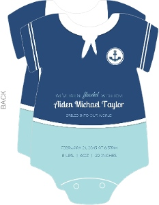 Nautical Blue Photo Birth Announcement