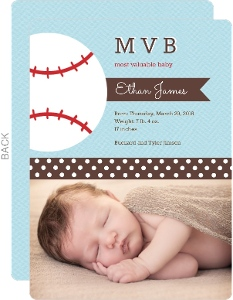 Blue Baseball Boy Birth Announcement