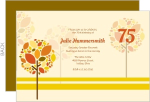 Autumn Trees Adult Birthday Invitation