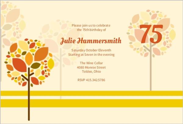 Autumn trees adult birthday invitation adult birthday invitations autumn trees filmwisefo
