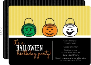 Funny Faced Pails Halloween Birthday Party Invitation