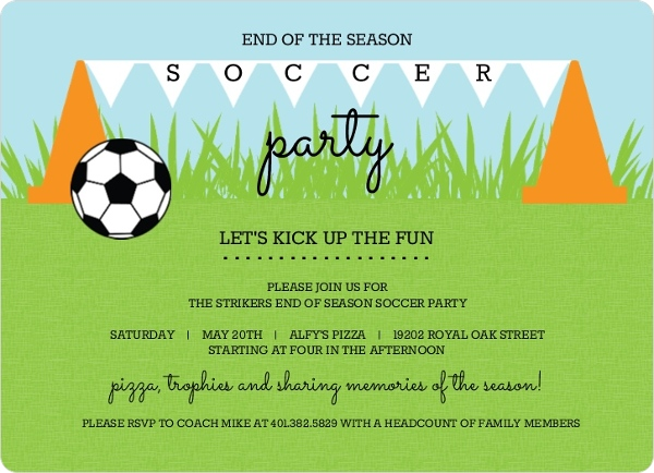 Cones And Flags Soccer Party Invitation Special Event Invitations