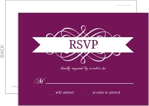 Purple and White Flourish Quinceanera Response Card
