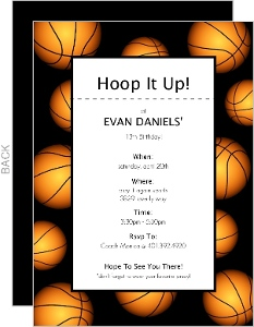 Basketball Border Sports Party Invitation
