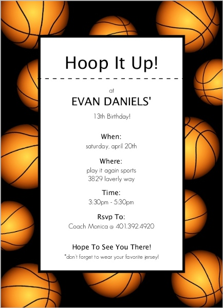 Basketball border sports party invitation teen birthday invitations basketball border basketball invitation filmwisefo