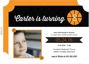Crosshatch and Orange Basketball Invitation
