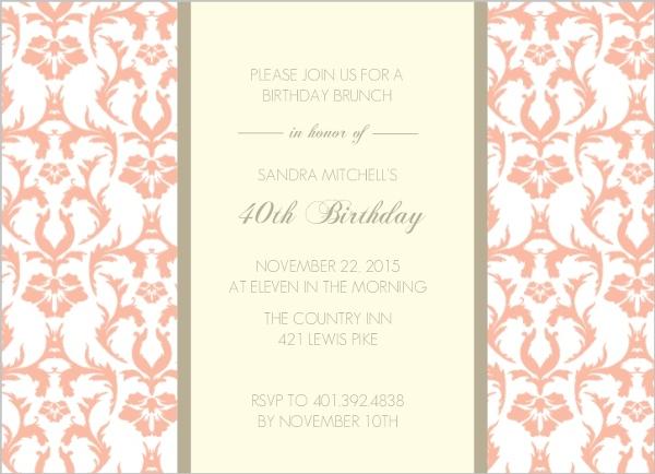 Peach and texture 40th birthday invitation adult birthday invitations peach and texture 40th birthday invitation stopboris Image collections