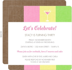 Pink Drink 30th Birthday Invitation