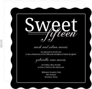 Black Simply Square Sweet Fifteen