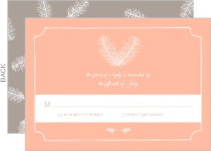 Artistic Framed Feathers Wedding Response Card