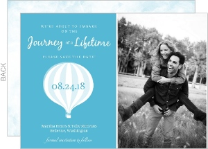 White Watercolor Hotair Balloon Save the Date Announcement