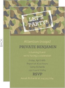 Army Party Kids Birthday Invitation