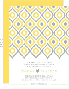 Chic Yellow Ikat Wedding Invitation